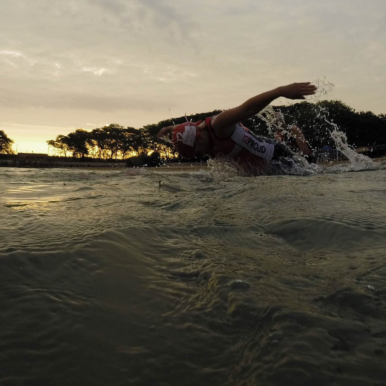 FFC Endurance Training participant swimming in Lake Michigan.