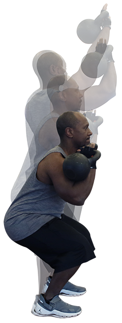 Man lifting a kettlebell.