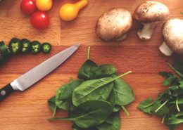 Vegetables on cutting board for healthy meal and food prep
