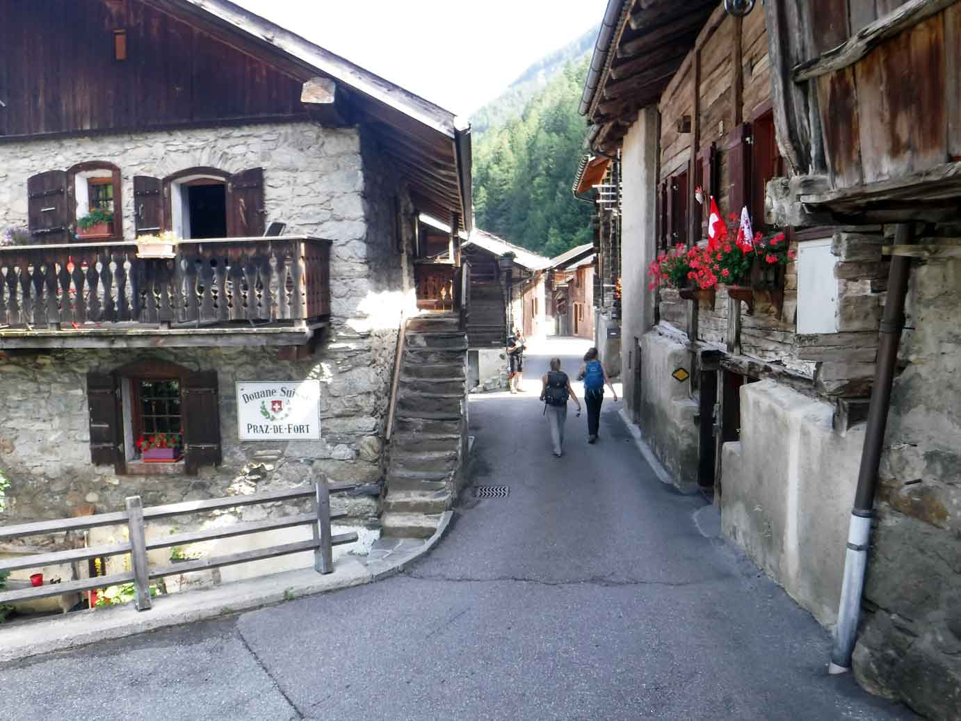 Swiss village near Tour du Mont Blanc