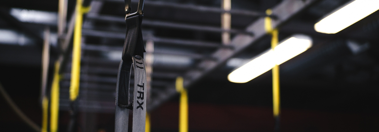 TRX Bands hanging from rack