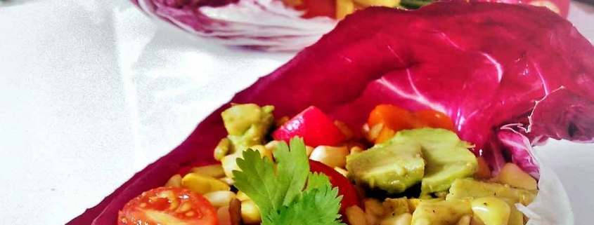 Easy lettuce wraps: Egyptian Spiced salad with corn, avocado and radish