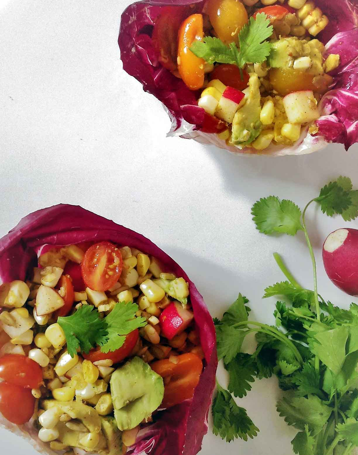 Easy lettuce wraps recipe for vegan Egyptian Spiced Avocado Corn Radish Salad