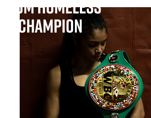 Jessica with her championship belt.