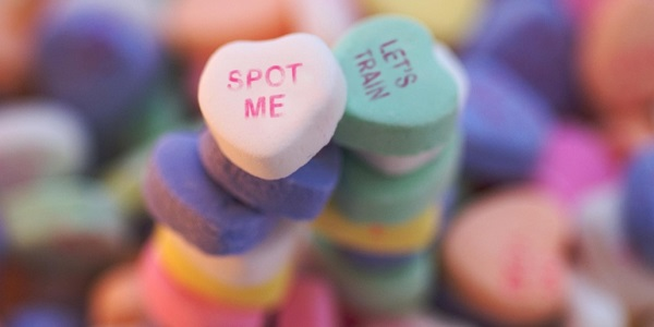 Workout-themed candy hearts.