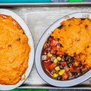 Cinco de Mayo party ideas Mexican Shepherd's Pie with Smoky Sweet Potato Crust