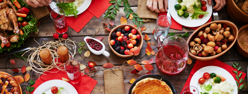 Holiday table set with meals