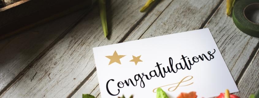 Congratulation card with flower bouquet