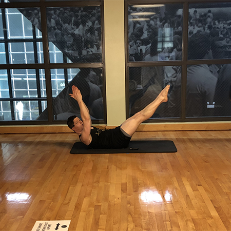 Photo of David Bohn doing Pilates