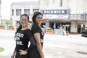Photo of two women in from of the Pick Wick Theater in Park Ridge, IL